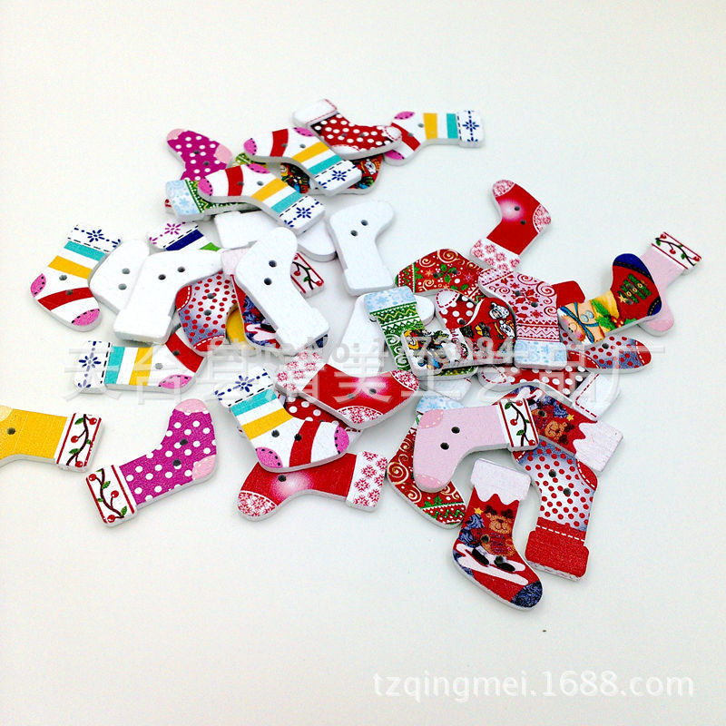 Botones de madera botón de madera de artesanía Navidad medias decoración botón madeira menina accesorios de costura 28mm