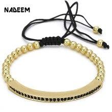 NADEEM nouveau élégant couleur or femmes Bracelets et Bracelets réglables Anil Arjandas Micro pavé CZ tressage macramé bracelet à breloques