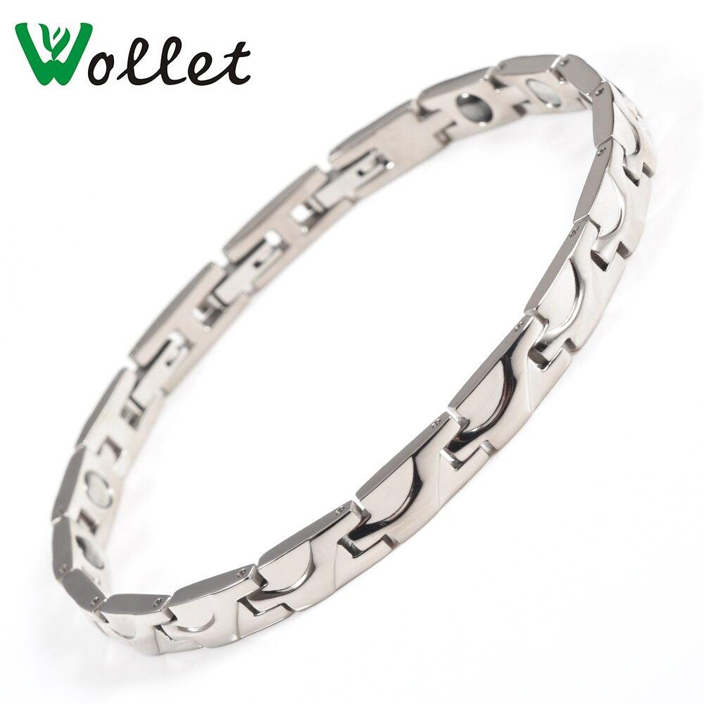 Wollet 21CM Healing Energy Magnetic Pure Titanium Bracelet Bangle For Women Men Germanium Hematite Health Care Silver Color
