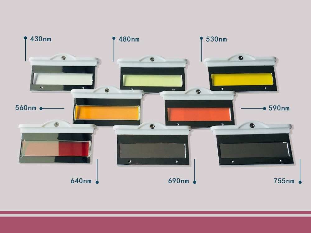 IPL filters 430nm 480nm 530nm 560nm 590nm 640nm 690nm 750nm spectrum wavelength  optional