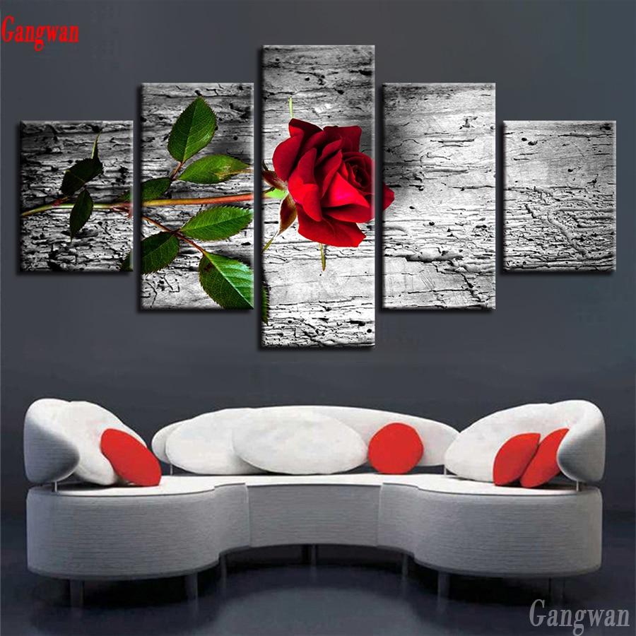 5 piezas de bordado de diamantes, hermoso patrón de rosa roja, decoración de punto de cruz Modular, pintura de diamantes, mosaico de Arte Blanco negro