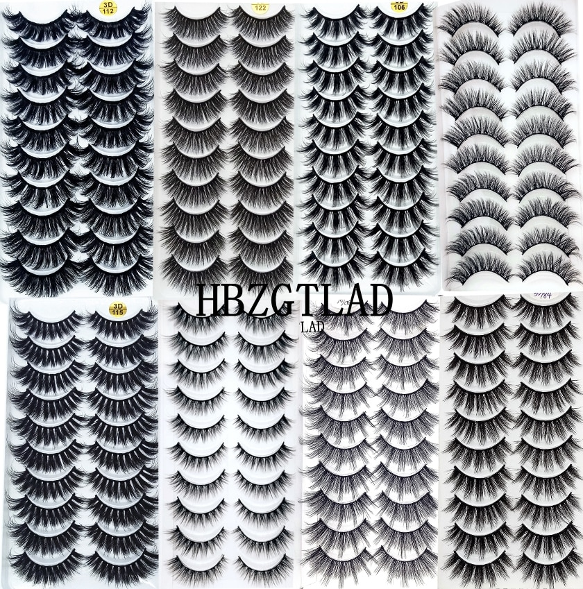 NEW2-10Pairs 3D Faux Mink Eyelashes Natural Thick Long False Eyelashes Dramatic Fake Lashes Makeup Extension Eyelashes maquiagem