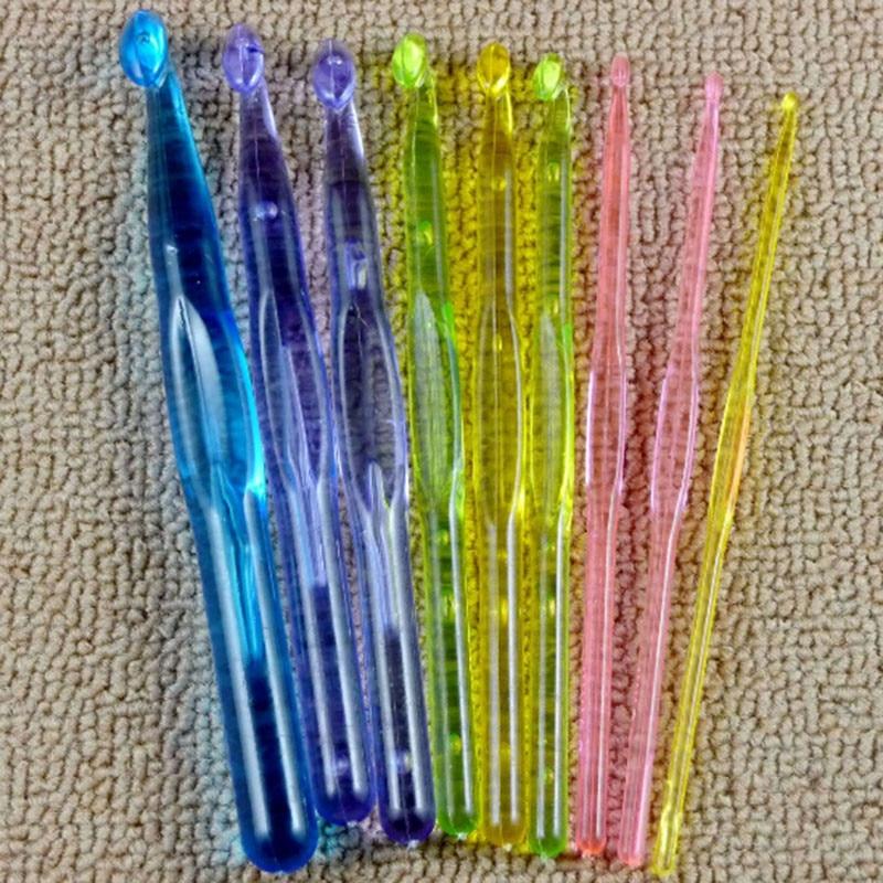 Gran oferta de 9 unidades por juego de agujas acrílicas para ganchillo de plástico, agujas de 3mm,4mm,5mm,6mm,7mm,8mm,9mm,10mm,12mm