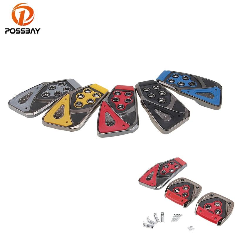 POSSBAY Universal 5 Colors Non-Slip Car Pedal Cover Set Kit Car Pedal Brake Pedal Clutch Pedals Automobiles Accelerator