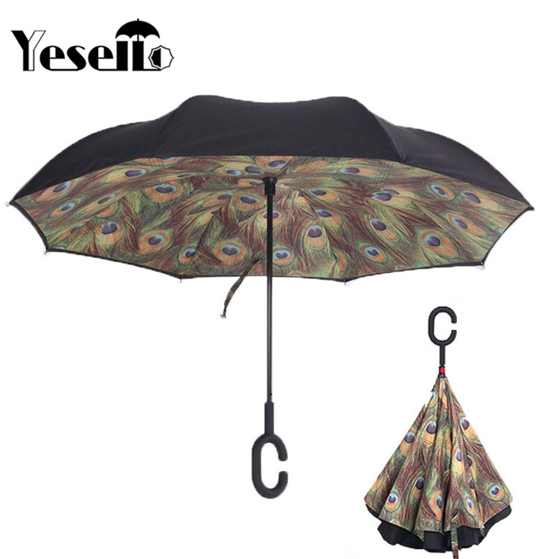 Home C Handle Green Peacock Feathers Reverse Inverted Folding Umbrella For Proof Windproof Rain Car Double Layer Anti Uv Self Stand Elegant Appearance