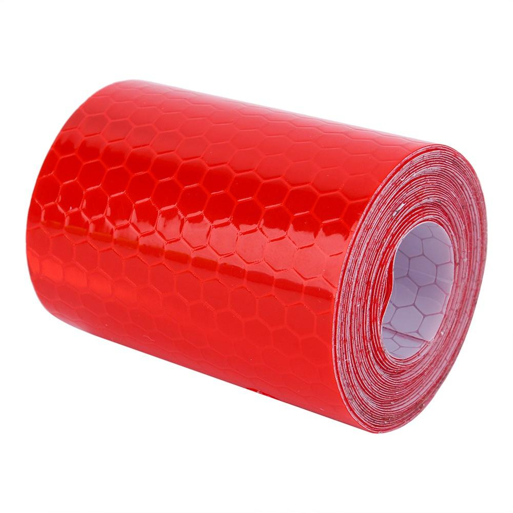 For 300cm Fluorescence Pure Safety Red Reflective Car Wall Sticker Warning Tape Roll Workplace Safety Supplies Warning Tapes