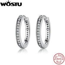 Haute qualité 100% 925 en argent Sterling partie éternité boucles doreilles avec clair CZ pour les femmes authentique Original bijoux XCHS456