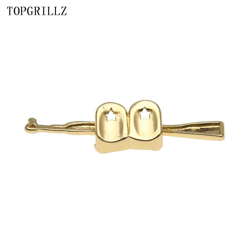 TOPGRILLZ New Fit  Pure Gold Color Plated Hip Hop ak 47 Rifle Grillz Cap Top Grills AK Gold Grillz