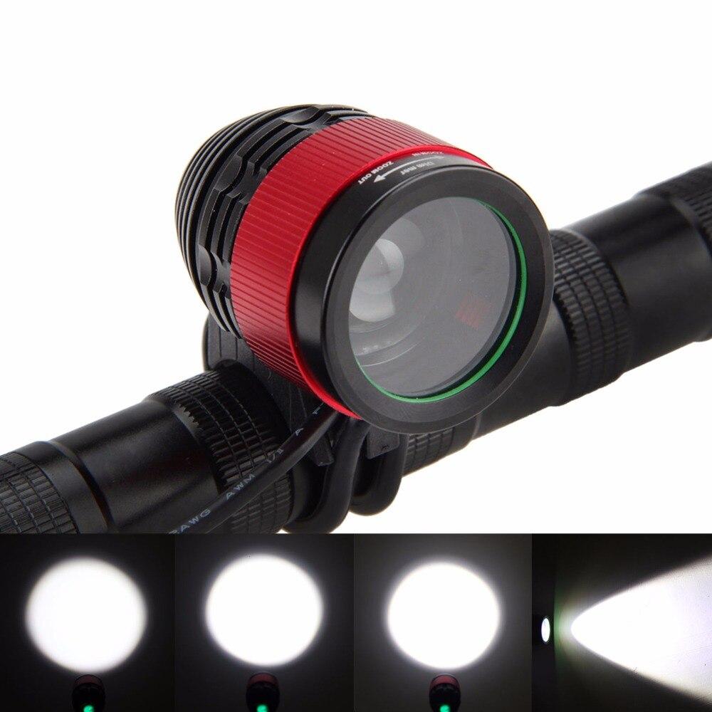 Lámpara de bicicleta frontal Zoomable a prueba de agua 5000LM T6 LED Faro de noche ciclismo bicicleta antorcha + batería de 6400mAh + cargador