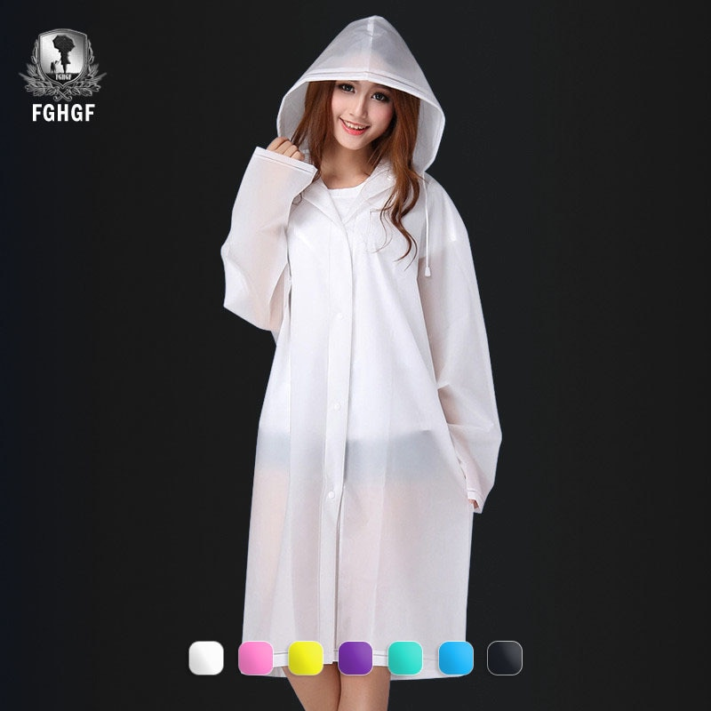 FGHGF Модный женский и мужской прозрачный дождевик EVA с капюшоном для взрослых, непромокаемое пончо для улицы