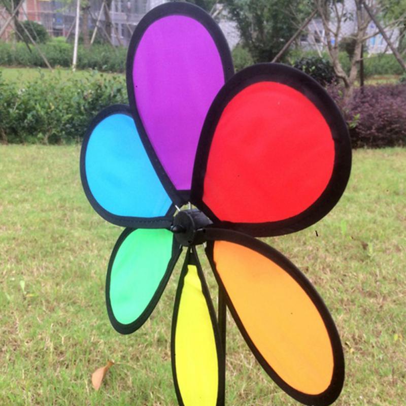 ¡Novedad de 2018! ¡novedad! Molino para jardín, colorido, con diseño de flores, de arco iris, decoración para exteriores, juguetes para niños
