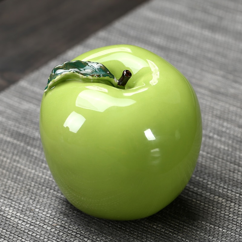 Ceramics Tea tank  Green apple Travel Portable Simulation Sealed tea storage tanks Mini fruit decoration