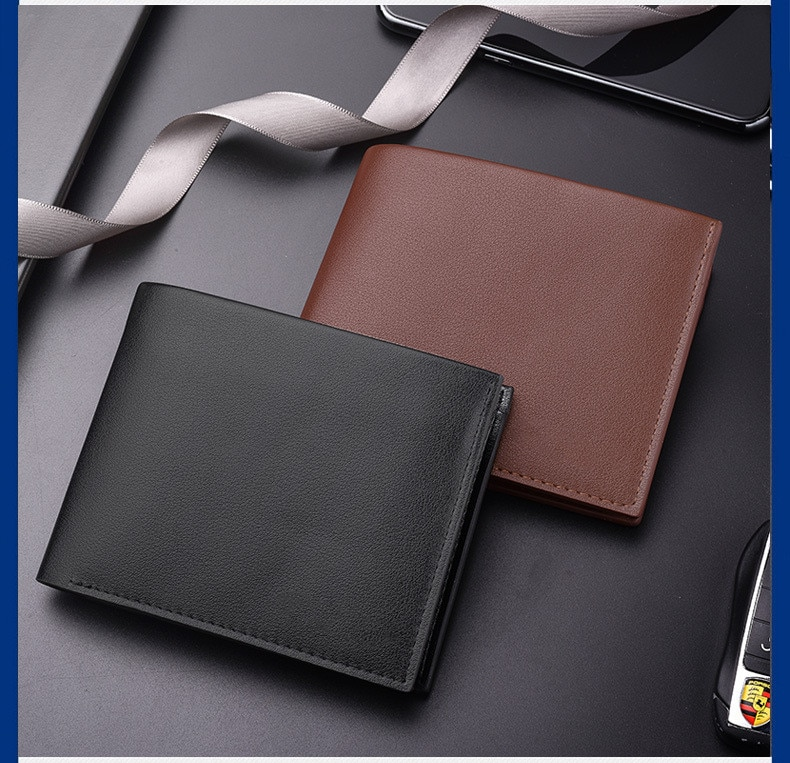 New Leather Wallet Men Fashion Bifold Male Short Card PU Purse For Holder Coin