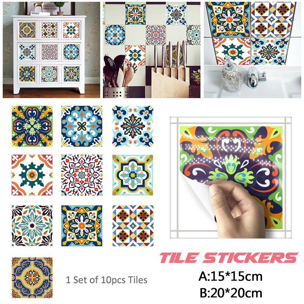 10pcs/set 15 x 15cm / 20 x20cm Moroccan Style Tile Stickers Waterproof PVC Self-adhesive Wallpaper for Home DIY Decoration