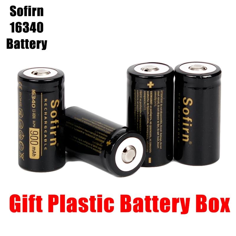 Sofirn, 3,7 V, 16340, 900mah, batería recargable, baterías de litio, pilas HD, baterías de alta descarga para linterna LED