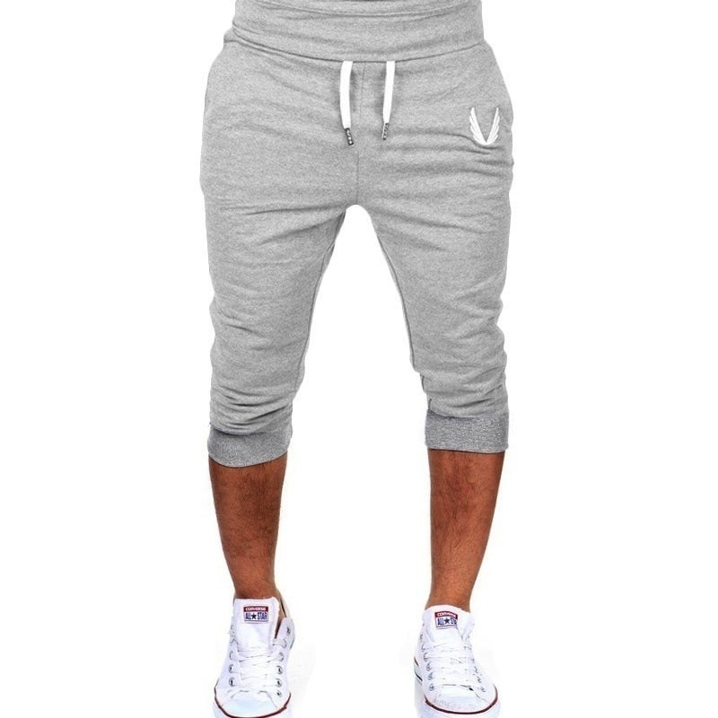 Zogaa Men Joggers Sweatpants Solid Color Cotton Calf-length Casual Slim Fit Trousers Elastic Waist Streetwear Jogger Pants Men
