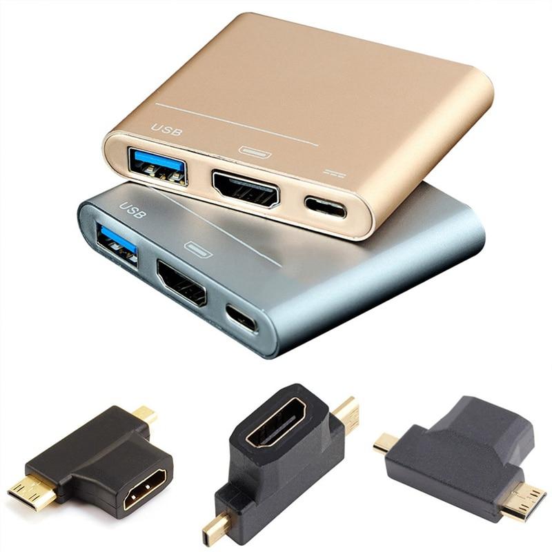 3 en 1 Micro HDMI macho + Mini HDMI macho a HDMI 1,4 hembra Cable adaptador Convertidor para HDTV 1080P los Cables HDMI