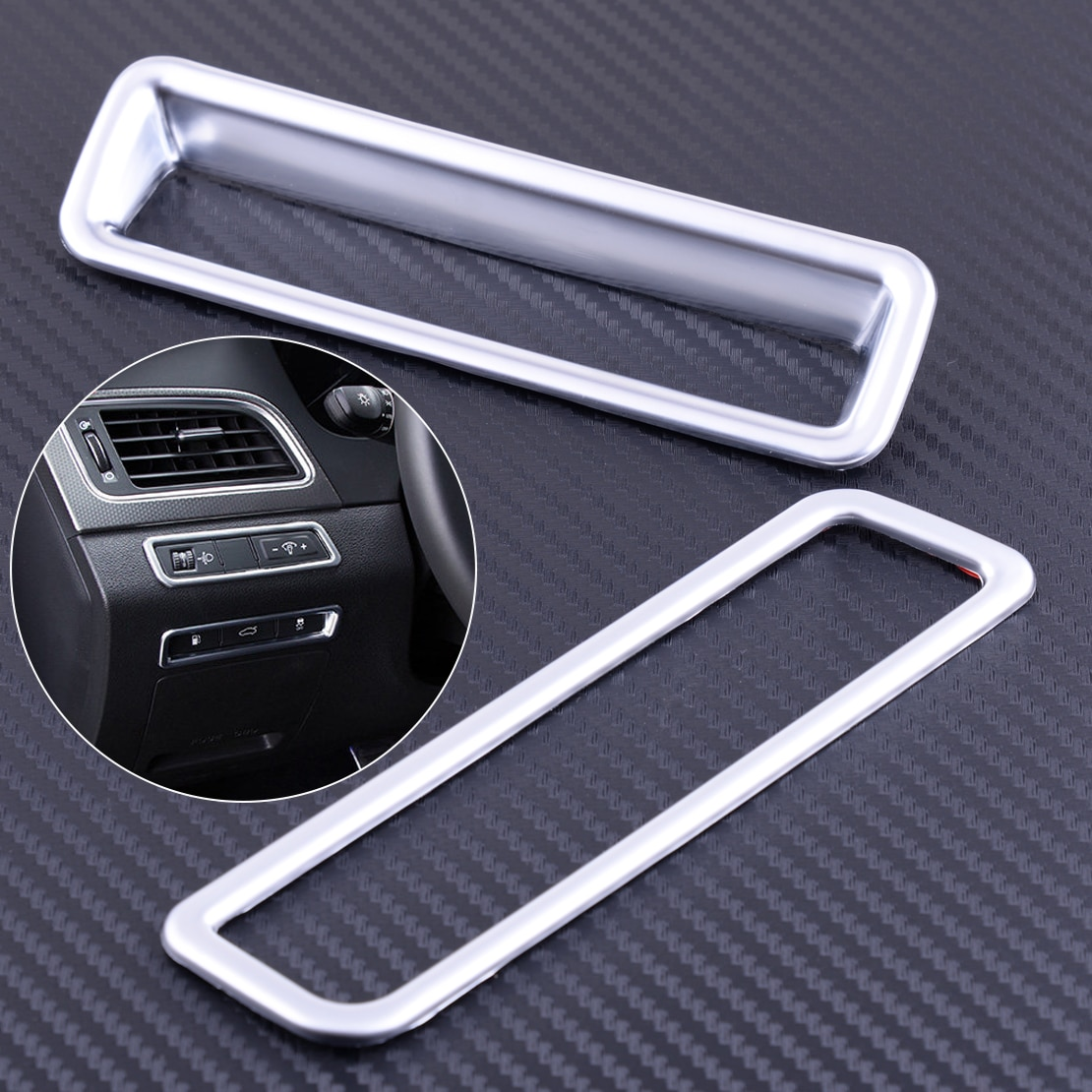 CITALL 2 uds Interior cromo consola central cubierta de Panel de interruptor de Control ajuste para Hyundai Sonata / i45 (LF) 2015 2016 2017