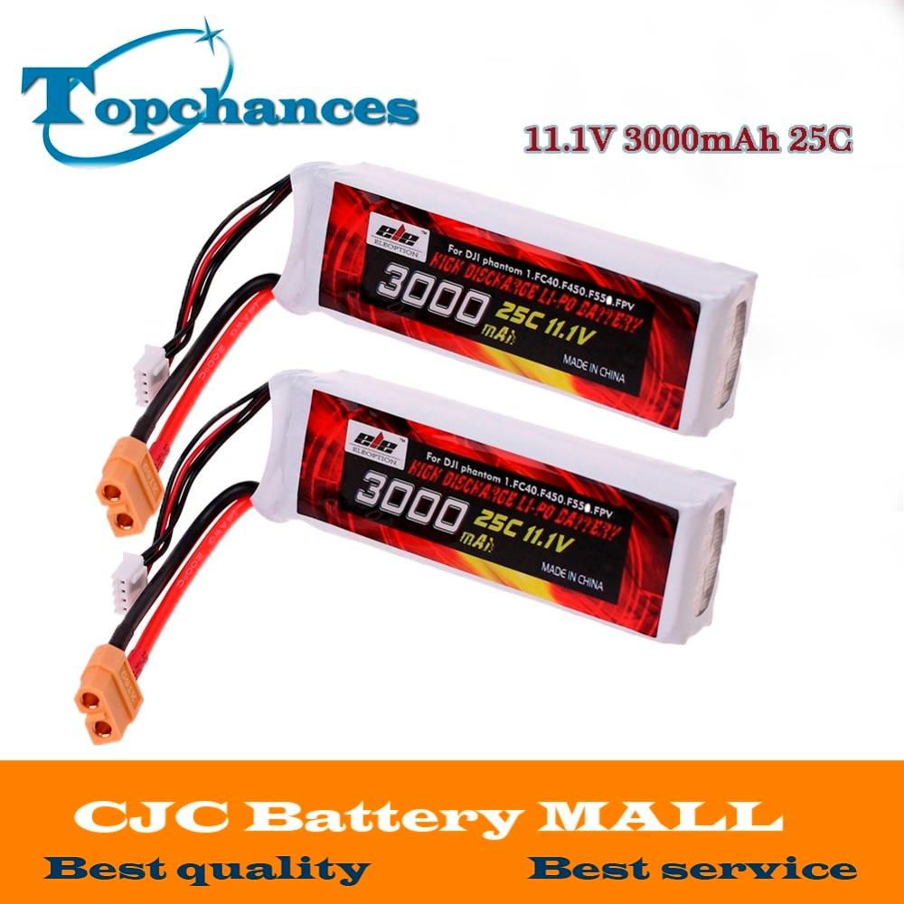 2 uds magia actualización Lipo batería de 11,1 V 3000mah 25C XT60 macho para el DJI Phantom 1 FC40 DJI rueda de F450 F550 FPV Quadcopter