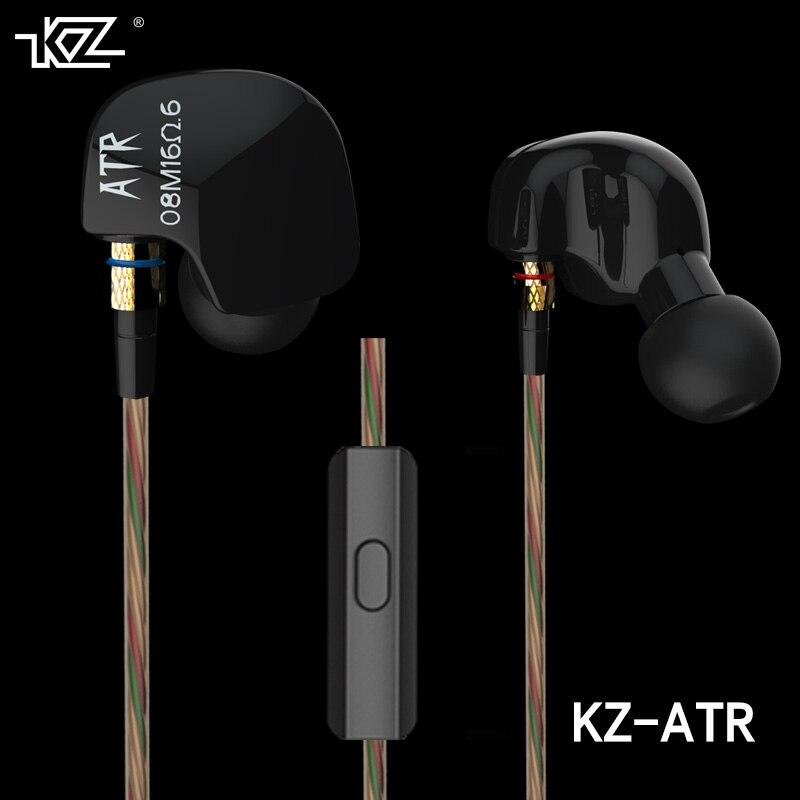 2017 chegada mais recente original kz atr 3.5mm no ouvido mic fones de ouvido alta fidelidade metal auriculares super baixo fone ouvido