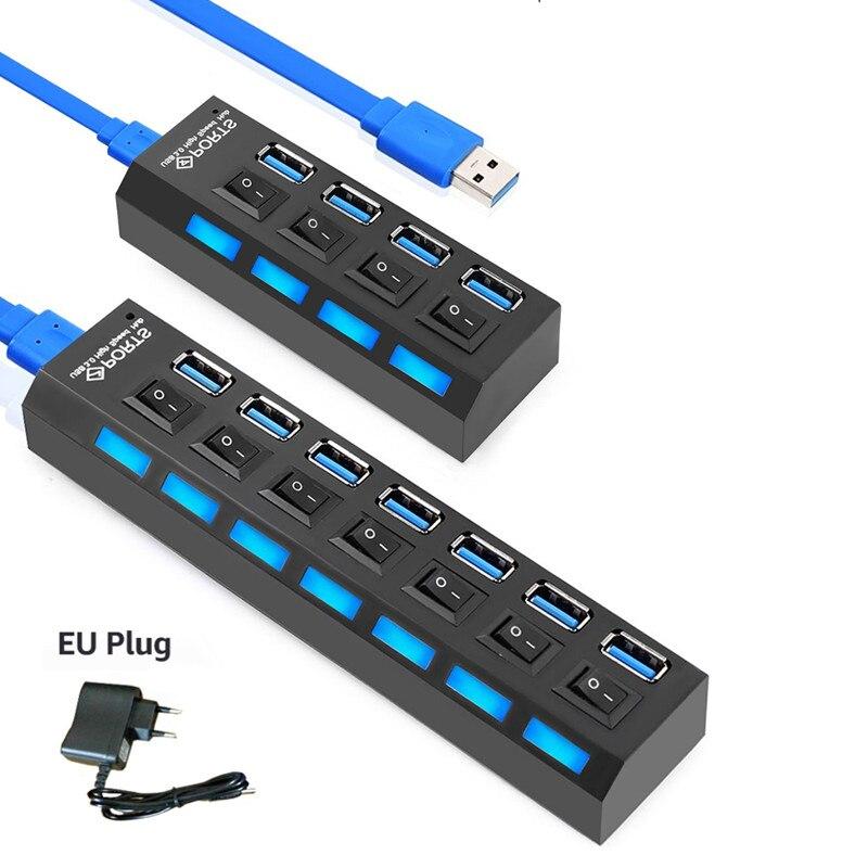 4 puertos Micro USB Hub 3,0 divisor de alta velocidad 5 Gbps con interruptor de encendido/apagado adaptador de corriente de enchufe europeo para tableta portátil ordenador portátil