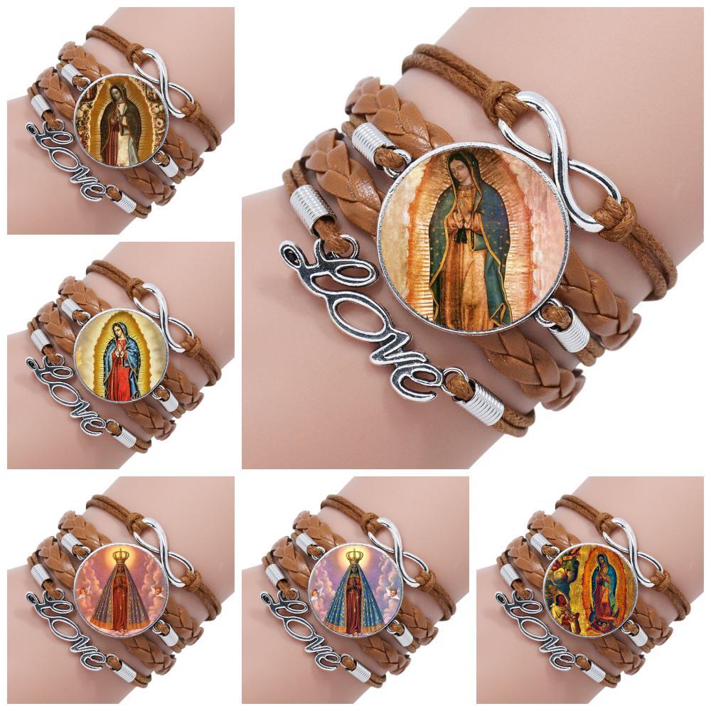 Joyería Vintage Virgen de Guadalupe con cabujón de vidrio plateado, brazalete de cuero negro/marrón multicapa para hombres y mujeres