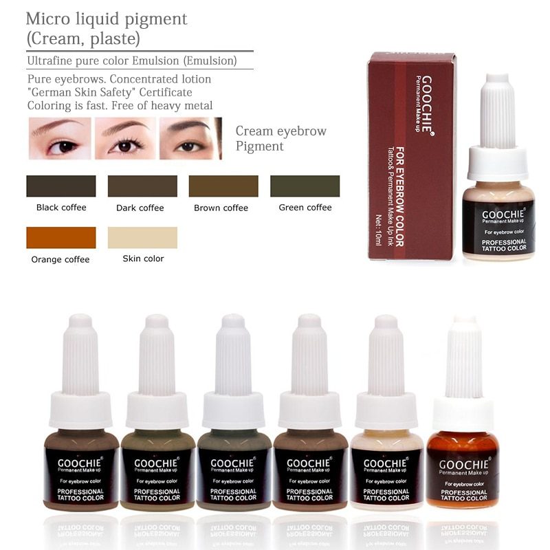 6 colors GOOCHIE Microblading pigment 10g/pcs Permanent Makeup eyebrow Pigment tattoo ink eyebrow pigment for tattoo machine ink aimoosi top concentrated eyebrow micro pigment for permanent makeup tattoo eyebrow microblading pigment combination tattoo ink