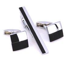 UN insieme di alta qualità silvery nero quadrato Regalo cravatta clip di Gemelli set camicia di abito da sposa degli uomini gioielli Gemello cravatta clip di box