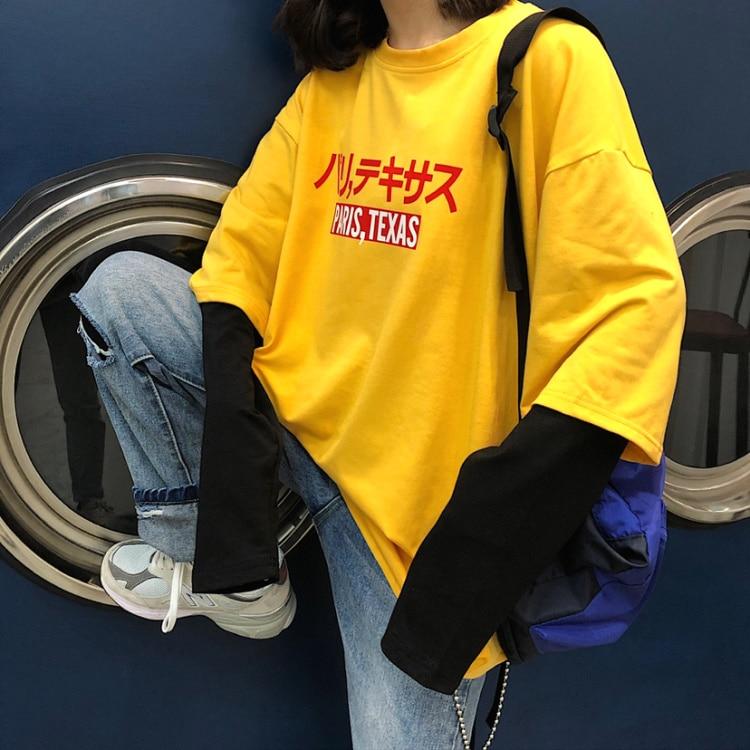2020 Spring Harajuku Japanese Vintage Long Sleeve T-shirt For Women Tshirts Streetwear Fake 2 Piece Yellow T-shirts Female Tops