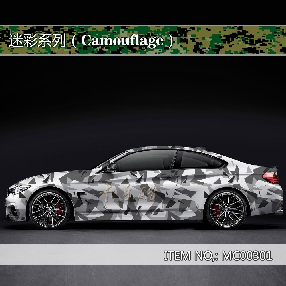 Camouflage custom car sticker bomb Camo Vinyl Wrap Car Wrap With Air Release snowflake bomb sticker Car Body StickerMC003