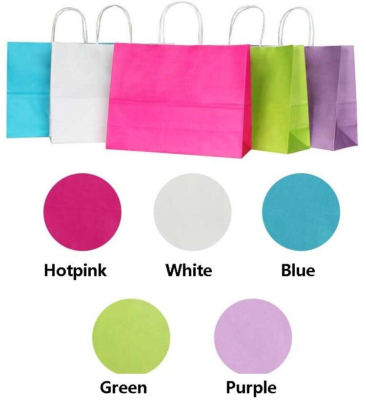 10 Uds grandes de Color kraft bolsa de papel con asas 32X25X11CM horizontal multifunción bolso para boda ropa bolsas de papel de regalo