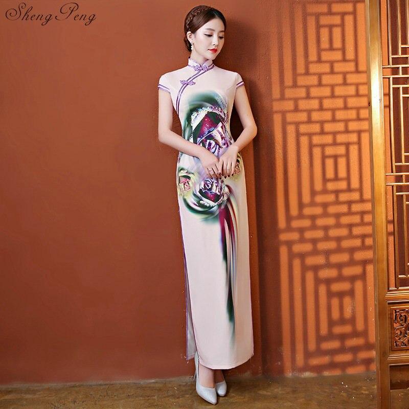 2019 Sexy Pink Vintage Chinese Style Wedding Dress Summer New Women Satin Long Qipao Print Flower Chinese Cheongsam  V1519