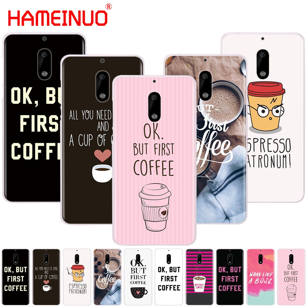 HAMEINUO Ok But First Coffee cover phone case for Nokia 9 8 7 6 5 3 Lumia 630 640 640XL 2018