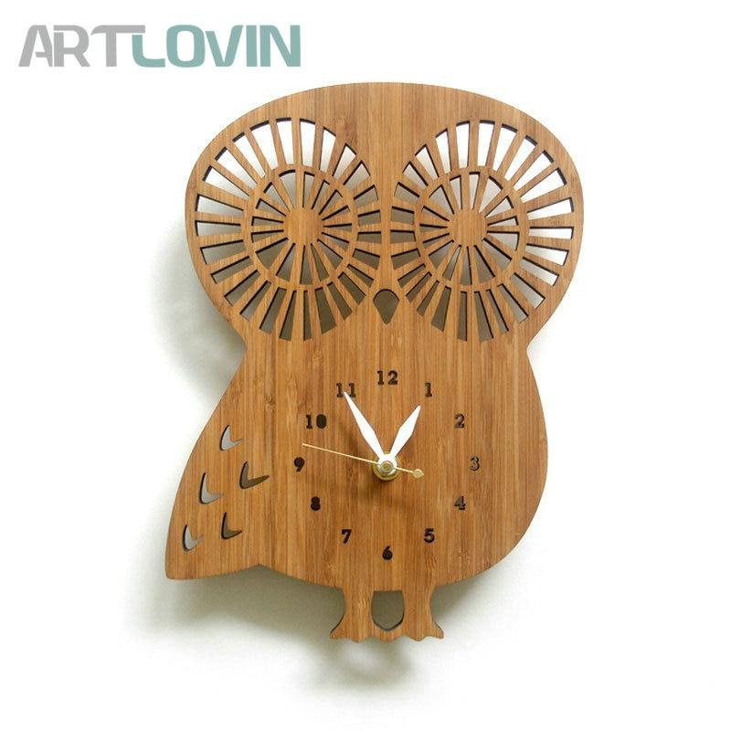 12 inch Cat/Owl Model Clock for Home Wall Decor Cartoon Bamboo Clocks Animals Europe Modern design Kids Room Decoration