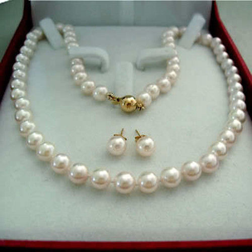 Wubianlu novo charme feminino 8mm branco akoya cultivada concha pérola colar brinco aet jóias atacado e retal