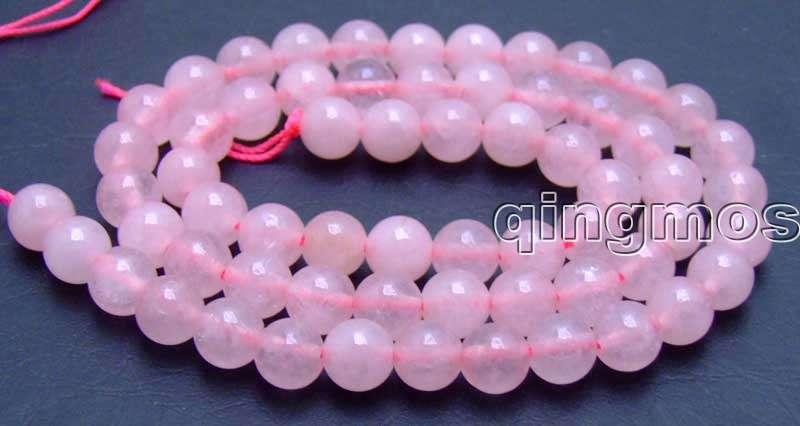 """Alta calidad 6mm ronda Rosa piedra suelta perlas hebras 15 """"-los609"""