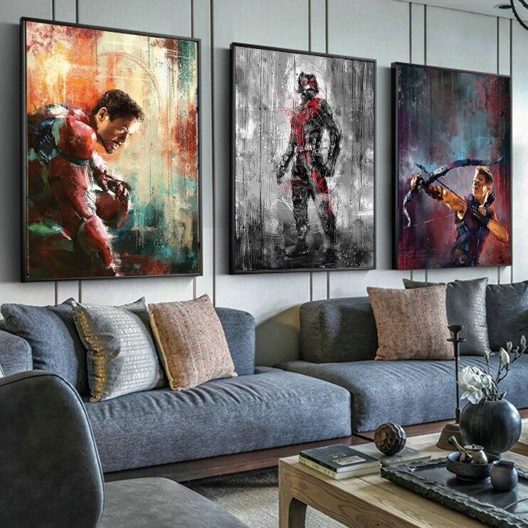 Póster de la película del súper héroe Capitán América de los vengadores, póster de estilo nórdico para habitación de niños y chicos, cuadro sobre lienzo para pared, póster con dibujo