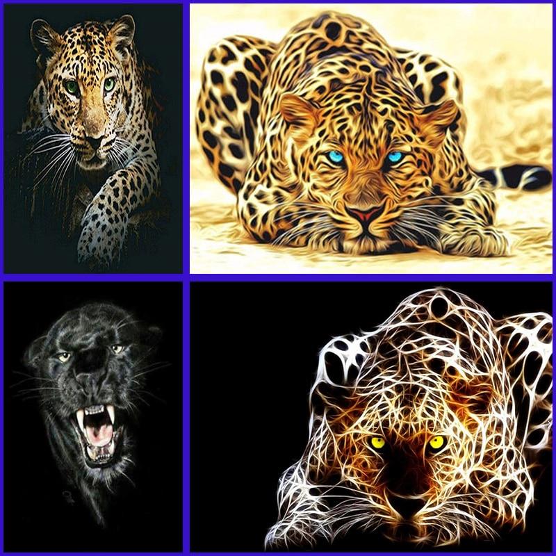 DIY 5D full Diamond Painting Leopard Diamond Embroidery Cheetah Beast A Picture Of Rhinestones Mosaic Drawings Jungle Animals