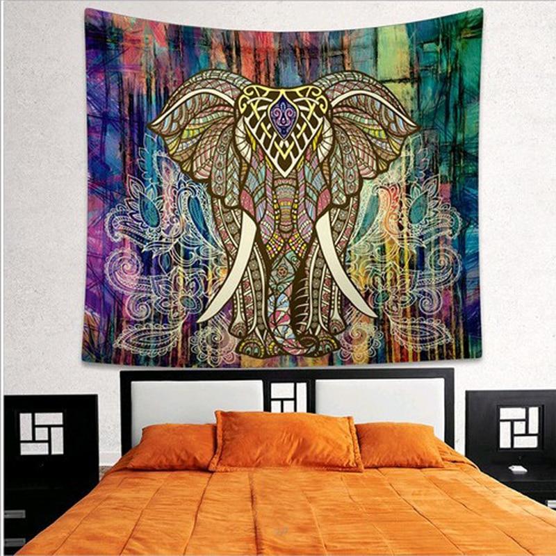 Tapiz de elefante Mandala tapicería de Color impreso decorativo 130 cm x 150 cm 150 cm x 200 cm Alfombra de pared Boho