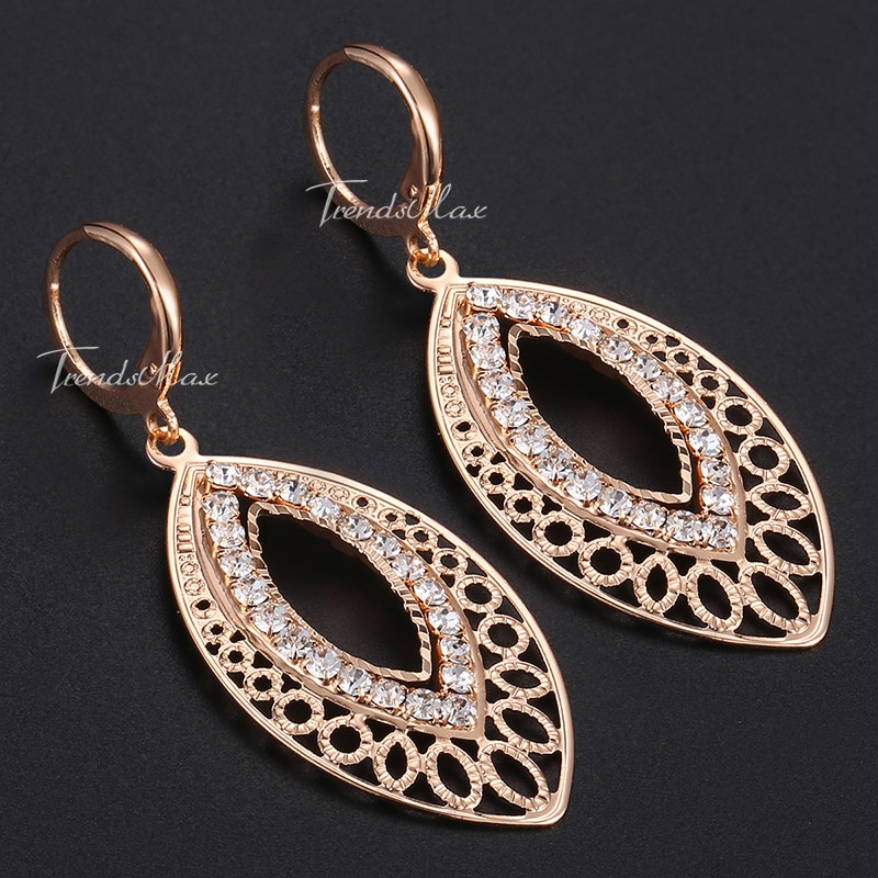 Womens Drop Earrings CZ 585 Rose Gold Cut Out Leaf Shaped Dangling Earrings For Woman Dropshipping Jewelry Fashion Gifts HGE196