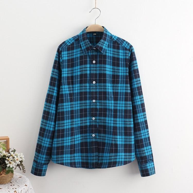 2016 Moda Plaid Shirt Kobiet College style damskie Bluzki Z Długim Rękawem Koszula Flanelowa Plus Rozmiar Bawełna Blusas Biuro topy 27