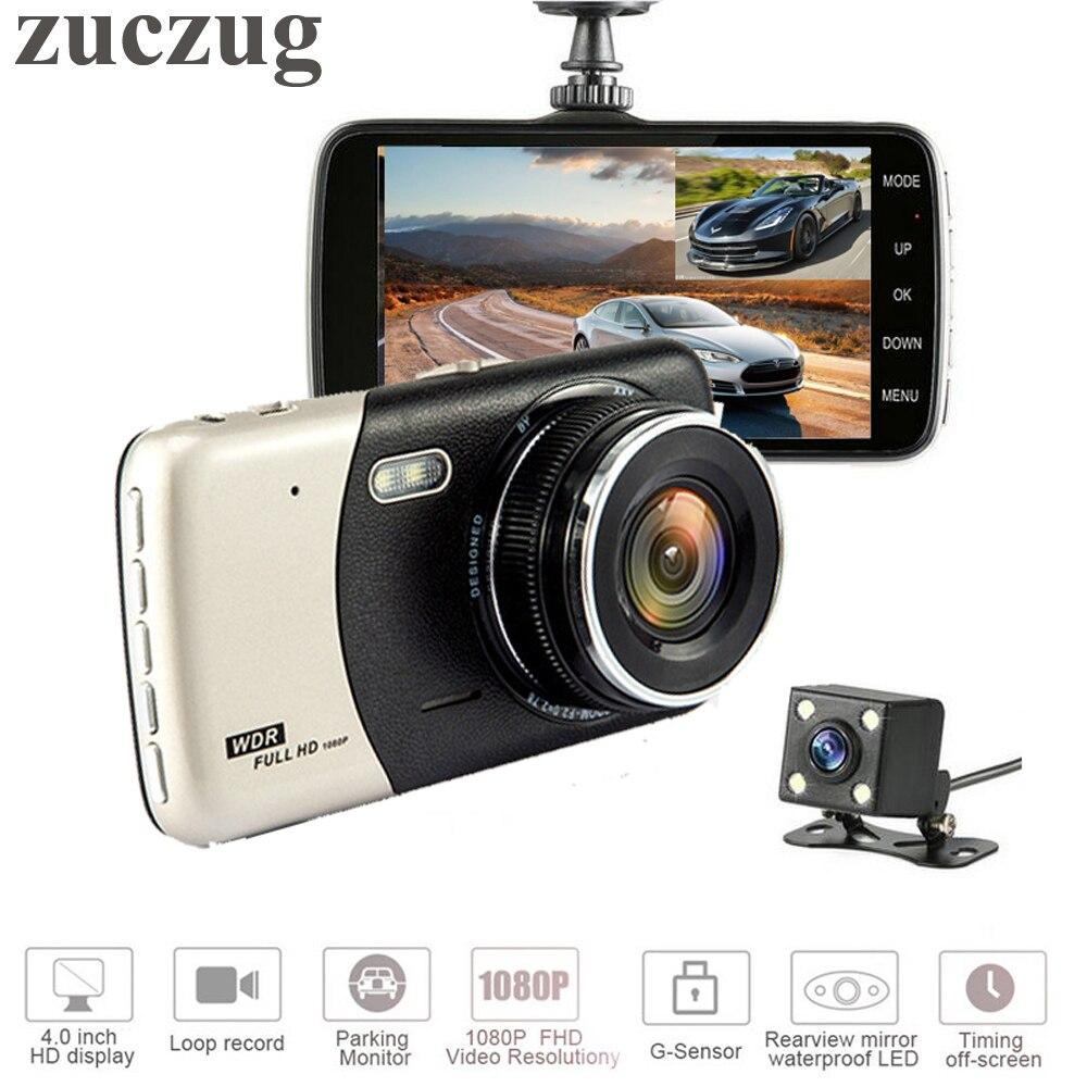 "ZUCZUG altamente recomendado Mini coche DVR 4 ""lente Dual Video grabadora aparcamiento coche Cámara Full HD 1080P WDR Dash cámaras"