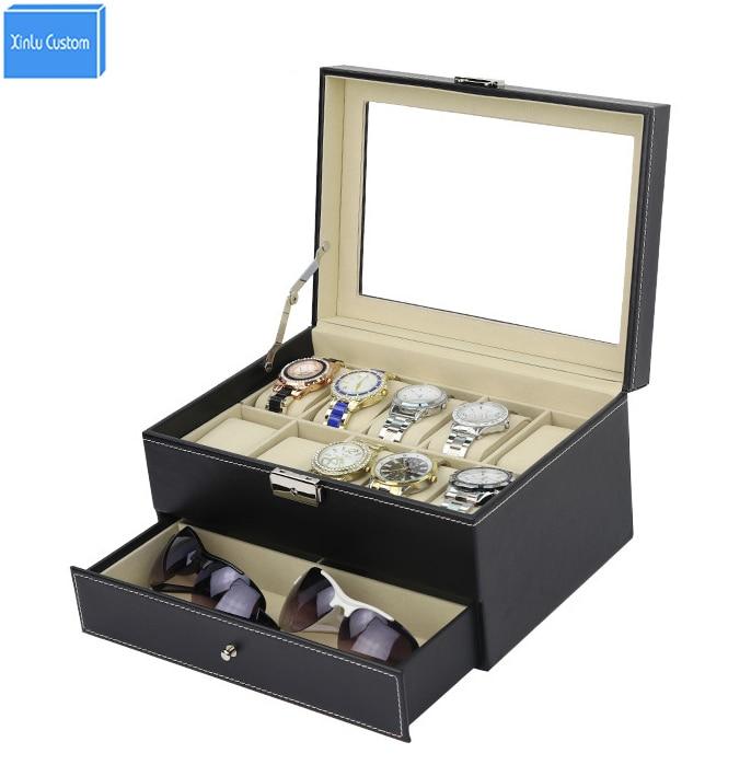 DHL Preto PU Luxo 2 Camada 10 Grids Relógio de Pulso + jóias Sunglass Exibição Caixão Jewel Case Caixa de Coleção de Jóias de Madeira WBG1069