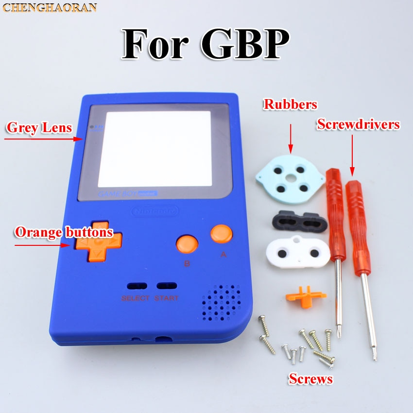 Rubber oil printing Blue Housing Shell Replacement for Gameboy Pocket Game Console for GBP Shell Case with Orange Buttons Kit
