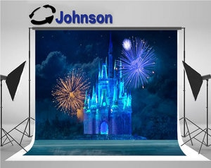 Magic Blue Ice Castle Fireworks Clouds photo backdrop  High quality Computer print children kids backgrounds
