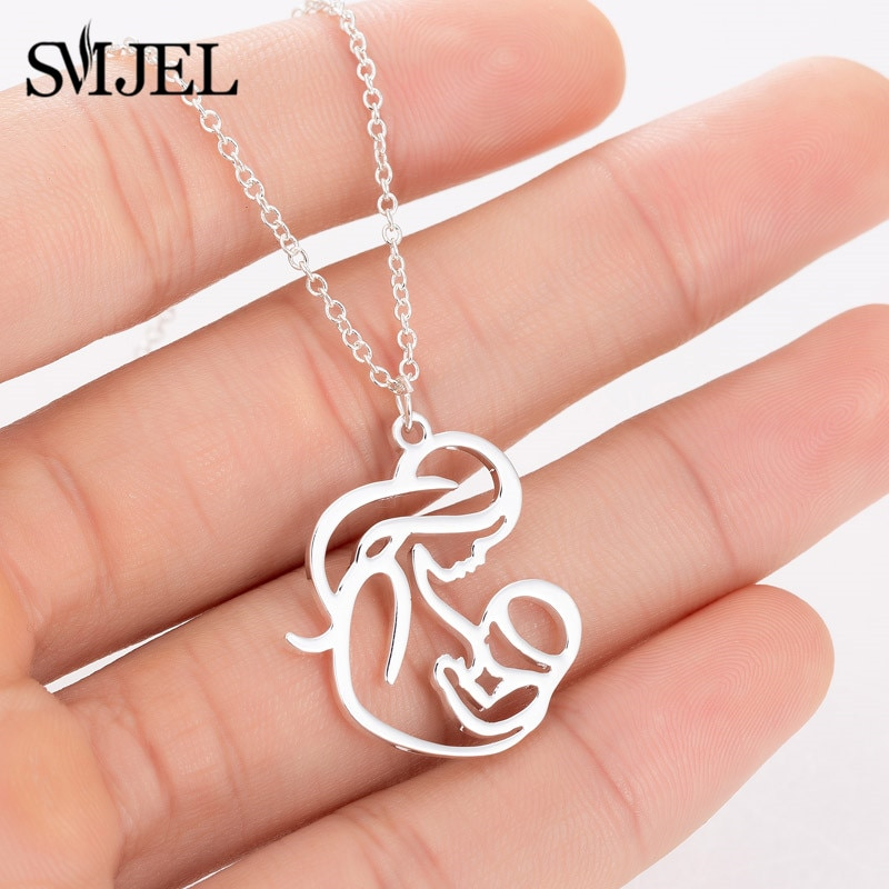 SMJEL Family MUM BABY Stainless Steel Necklace for Women Elegant Mother Necklace Charms Chokers Love
