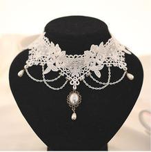 Imitation perle blanc noir dentelle collier ras du cou bijoux de mariée femmes mariage tatouage gland Style Punk dentelle pendentif