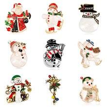 Rinhoo émail bonhomme de neige Santa Tree broche broche cadeaux de noël Jingle Bell bottes broches breloque cristal cadeau de noël