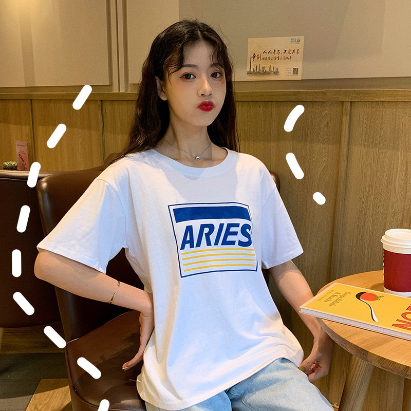 Letras impresas camiseta Casual suelta de manga corta señoras Tops negro y blanco estudiante camisetas