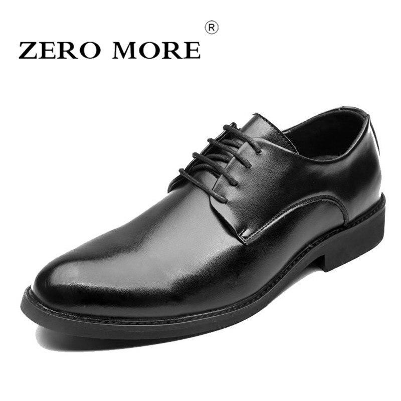 ZERO MORE Mens Shoes Casual Plaid Pointed Toe Formal Designer Split Shoes Men Fashion 2018 Lace Up Derby Shoes Luxury Black